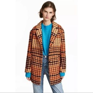 H&M Orange Black Checked Check Plaid Tweed Coat
